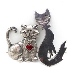 Vintage Accessories - Vintage Cat Brooch Lot C Clasp Silver Color Pins